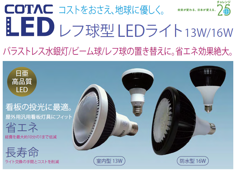 レフ球型LEDライト